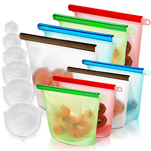 GREENSTO 14 Multipack Reusable Silicone Food Storage Bags (4 Large + 4 Medium Silicone Bags & 6 Silicone Lids) Reusable Food Bags - Reusable Freezer Bags - Reusable Sandwich Bags - Reusable Snack Bags
