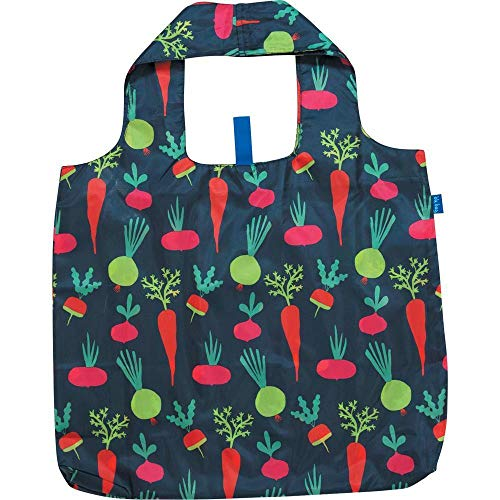 Reusable Grocery Bags for Shopping - Root Veggies Blue Pattern Blu Bag - Machine Washable, Foldable, Packable Tote - Large Handles - Heavy Duty and Lightweight - Zippered Top Pouch - Rockflowerpaper