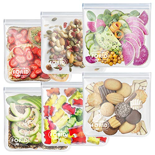 Reusable Gallon Freezer Bags - 6 Pack EXTRA THICK Gallon Reusable Bags LEAKPROOF Reusable Freezer Bags for Marinate Food & Fruit Cereal Sandwich Snack Meal Prep Travel Items Home Organization Storage