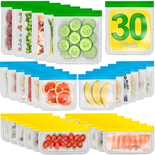 Reusable Food Storage Freezer Bags - 30 Pack Double-Lock Leakproof Lunch Bags - 6 Gallon + 12 Sandwich + 12 Snack Silicone & Plastic Free Bags - BPA Free Kitchen Safe Bags for Kids
