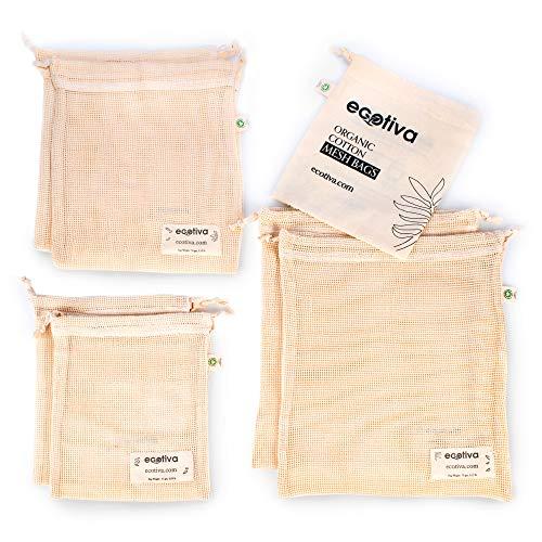 Organic Reusable Produce Bags - Cotton Produce Bags - Cotton Mesh Produce Bags - Mesh Produce Bags Grocery Reusable - Net Zero Produce Bags - Mesh Bags For Produce