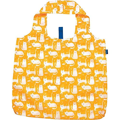 Reusable Grocery Bags for Shopping - Kitty Cats Yellow Pattern Blu Bag - Machine Washable, Foldable, Packable Tote - Large Handles - Heavy Duty and Lightweight - Zippered Top Pouch - Rockflowerpaper