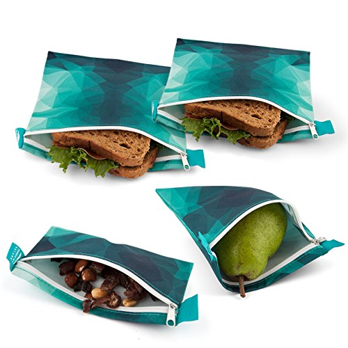 Nordic By Nature 4 Pack - Reusable Sandwich Bags Dishwasher Safe BPA Free - Durable Washable Quick Dry Cloth Baggies -Reusable Snack Bags For Kids School Lunches - Easy Open Zipper - (Turquoise)