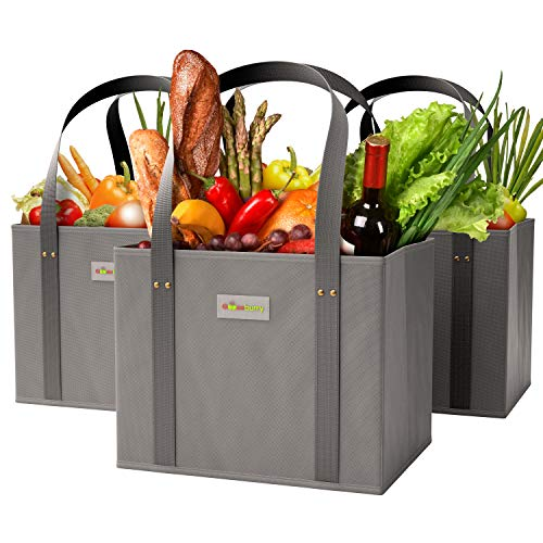 GOOZEBURRY Reusable Washable Grocery Bags - Set of 3 - 30 lbs Collapsible Shopping Tote - Long Handles - Large Foldable Box Bag - Reinforced Sides - Bottom Durable Eco-Friendly Heavy Duty (Grey)