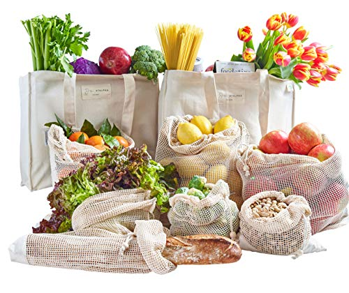 ATALPHA Ultra Premium Reusable Canvas Grocery Bags, Washable Foldable Shrink-Resistant (Pack 2 + 8 Produce Bag)