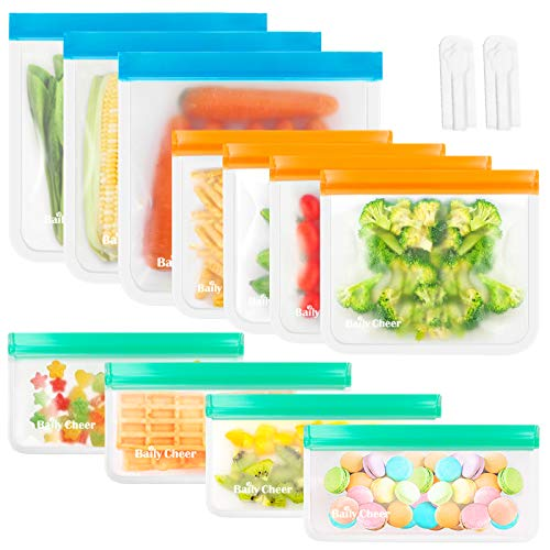 Reusable Storage Bags, 11 Pack EXTRA THICK Reusable Food Storage Bags (3 Reusable Gallon Bags + 4 Reusable Sandwich Bags + 4 Reusable Snack Bags Zipper Kids) BPA FREE Ziplock Freezer Bags Washable