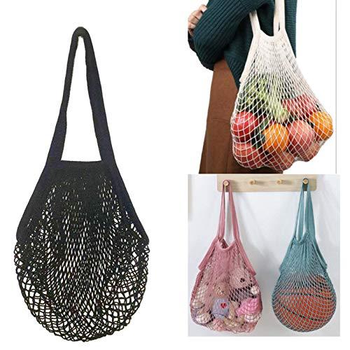 Reusable Cotton Mesh Grocery Washable Bag Black