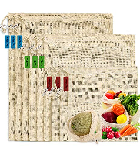 Reusable-Cotton-Mesh-Produce-shopping-Bags-Biodegradable Washable Eco Friendly Premium See Through Lightweight Net zero Bulk Bags for Veggie Fruit Vegetable Grocery Storage ( 9 Packs )