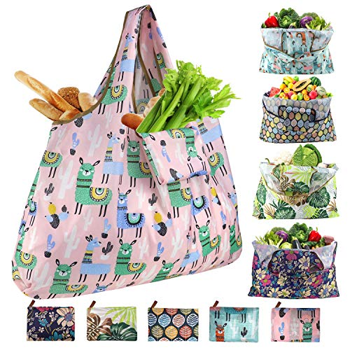 Ravmix 5-Pack Shopping Bags Reusable Foldable XX-Large 55LBS Washable Grocery Bags Rip-stop Tote Bag Shoulder Bag for School Travel Daily Beach Bags Fits in Pocket