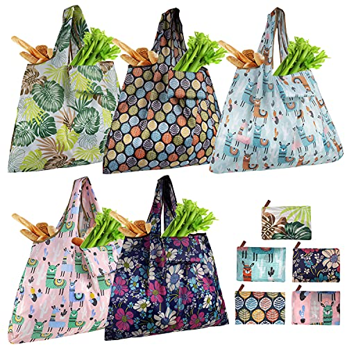 Ravmix Reusable Grocery Bags, XX-Large Tote Bag For Shopping, Groceries, Gym, Office Supplies, Beach Gear, School, Toys & More | Washable With Large Long Handles For Maximum Convenience | Folds Into A Small Pouch, 5 Pack, Cute Alpaca/Flower/Leaf